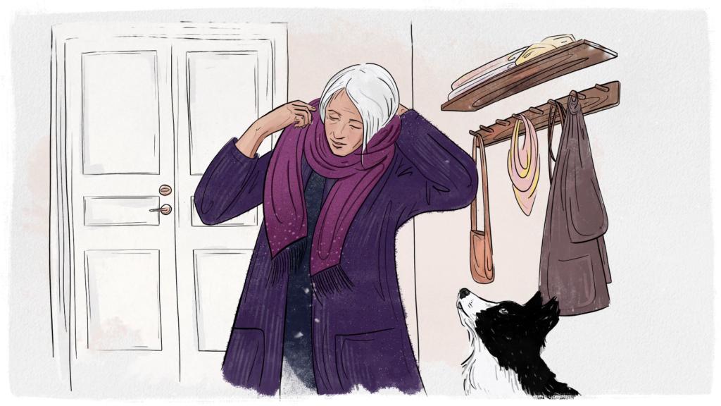 gammal kvinna som bär