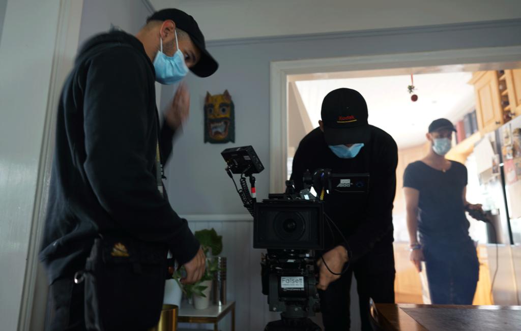 filmteam förbereder sig